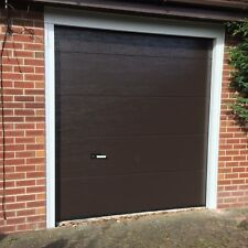 Fully Fitted Sectional Garage Door M Ribbed White Woodgrain Single Skin Up Over