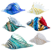 3D Hand Blown Glass Murano Art Style Seashell Conch Sculpture Crystal Figurines