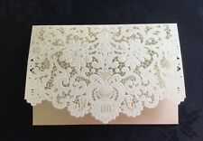 WHITE  LACE EFFECT GIFT MONEY VOUCHER CARD WALLET WEDDING BIRTHDAY INVITES