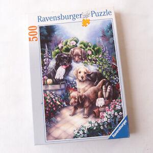 RAVENSBURGER 500 Piece Jigsaw Puzzle Gardening Puppies Dogs Art Flower Complete