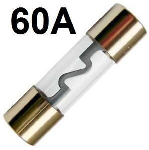 1 X Agu 60 A Sicura Fusibili IN Vetro 38 X 10 MM