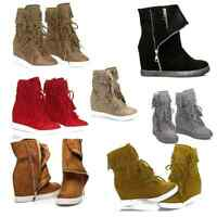 New Ladies Womens Autumn Winter Wedges Wedge Sneakers Boots Shoes High Top Size