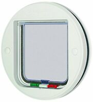 Cat Mate 4-Way Locking Glass Fitting Cat Flap - White