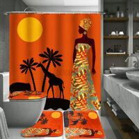 Exotic Woman Waterproof Bathroom Shower Curtain Toilet Cover Mat Non-Slip Rug