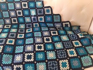 """Vintage Granny Square Afghan Throw Blanket Hand Crocheted Blue 77""""x 47"""""""