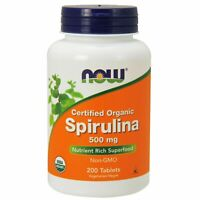 NOW Foods Organic SPIRULINA Green Superfood 500 mg, 200 Tablets