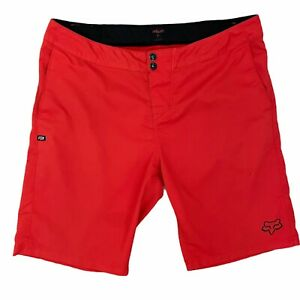 "Fox Motocross Ranger Shorts Size 36 Red Orange 11"" Inseam Adjustable Stretch"