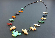 Hand Carved Single Strand Thunderbird Multicolored Mixed Fetish Necklace