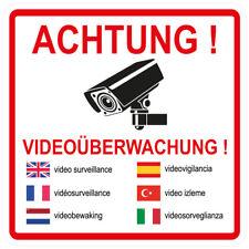 """1 Stück Aufkleber """"Achtung videoüberwachung"""" 7 sprachig, 15x15 cm, selbstklebend"""