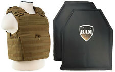 Level IIIA 3A | Body Armor Inserts | Bullet Proof Expert Vest TAN M-XXL 10x12s