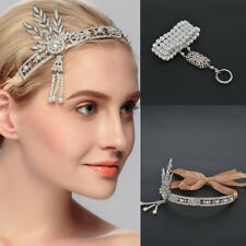 Gatsby 1920's Flapper Crystal Pearl Headpiece Headband Ring Bracelet Set Silver