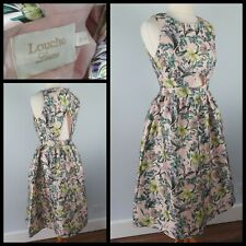 Louche Luxe Dress Size 10 Fifties 50s Floral Midi Fit Flare Wedding Guest Party