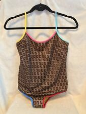 NEW with Tags FENDI Monogram Brown One Piece Swimsuit Size 8, Medium
