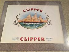 VINTAGE CLIPPER CIGAR LABEL- ODENCE MAN'F. CO., BOSTON, MASS. CLIPPER SHIP.NICE!