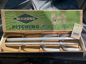 Vintage Set Diamond Professional Super Ringer Pitching 2 1/2 Horseshoes w/manual