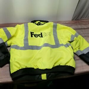 FedEx River City Mens XL High Vis Fluorescent Employee Uniform Coat Luminator
