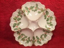 Oyster Plate Christmas Antique Limoges Porcelain Oyster Plate c.1892-1907, op392