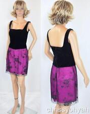 Vtg Mini Blk Velvet Bustier Sheer Glitter Embossed Net Skt Party Cocktail Dress