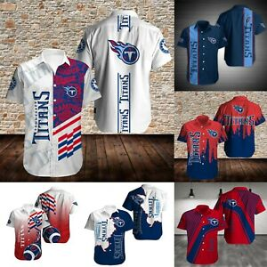 Tennessee Titans Men's Sports Causal Short Slim Summer Sleeve Button Shirts Top