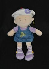 Peluche doudou poupée beige LGRI robe bleue jeans mauve violet fleur 31 cm TTBE