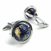 Really Spins Rhodium Plated Blue Globe Earth Cuff links for Men , Gift Set