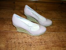 Principles Nude beige patent wedge court shoes size 5 slip on