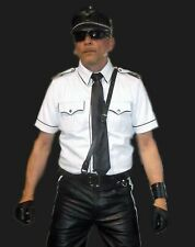 MENS REAL LEATHER White Police Military Style Shirt GAY BLUF ALL SIZE hot shirt