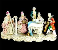 VERY LARGE CONTINENTAL DRESDEN LACE CRINOLINE FIGURINE MUSIC GROUP 55cm 21 1/2""