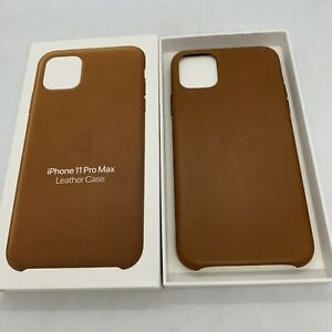 Official Genuine Apple iPhone 11 Pro Max Leather Back Case Saddle Brown Original