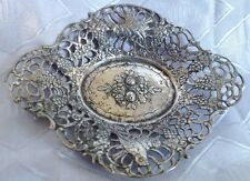 "BEAUTIFUL ""BIRDS, VINE & ROSES"" SMALL SILVER TRAY PLATE ERETZ ISRAEL 1940-50's"