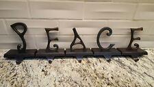 Pottery Barn CHRISTMAS ~ PEACE ~ Word Stocking Holders SET OF 5 Alphabet BRONZE