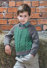 KNITTING PATTERN Childrens Long Sleeve Cable Jumper Aran King Cole 3977