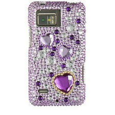 Purple Hearts Crystal Diamond Bling Hard Case Cover for Motorola Droid Bionic