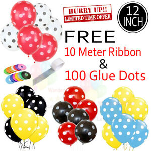 30 X Latex PLAIN BALLOONS POLKA BALLONS helium Quality Party Birthday Colourful