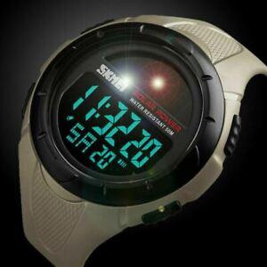 Waterproof Solar Powered Quartz Digital Sports Army LED Date Men's Wrist Watch