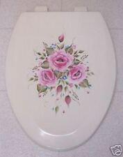 Hp Roses/Toilet Seat/Elongated Bone/ Pink Roses/Blue
