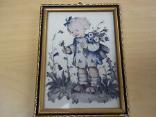 Small Hummel Print West Germany - Girl Picking Flowers