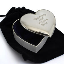 Personalised Heart Trinket Box with Plush Velvet Pouch -Engraved Free -Birthdays