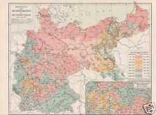 KONFESSIONEN im DEUTSCHEN REICH  original KARTE um 1908 Katholiken Protestanten