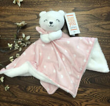 NWT Carters Just One You Pink And White Hearts Bear Plush Baby Security Blanket