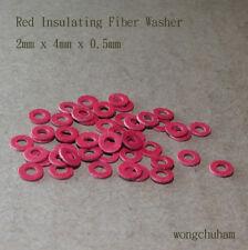 50pcs Red Insulating Fiber Washer (2mm x 4mm x 0.5mm)