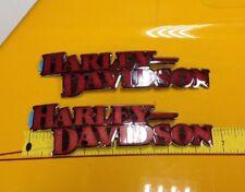 Genuine Harley OEM Gas Fuel Tank Emblems Badges Softail FatBoy Dyna Chrome & Red