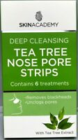 SKIN ACADEMY TEA TREE NOSE PORE STRIPS REMOVES BLACKHEADS CONTAIN 6 TREATMENTS
