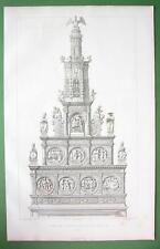 BELGIUM Hal Choir Retable in Notre Dame Cathedral - FOLIO Antique Print