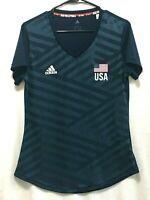 adidas Women's Size L Navy V-neck USA Volleyball Replica T-shirt