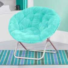 Stylish Folding Saucer Moon Chair Cozy Round Seat Faux Fur TV Living Room Dorm