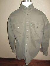 REMINGTON OUTDOOR Shirt Men's SIZE LARGE Olive Drab Hunting Fishing 100% Cotton