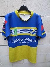Maillot rugby porté n°22 PRC PLAISIR moulant shirt bleu jaune XL made in France