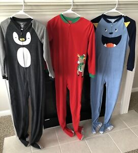Carters Lot (3) One Piece Footed Pajamas Size 14   Gently Used