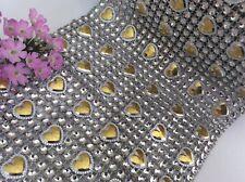 Crystal Diamante Rhinestone Mesh heartRibbon weddings Cakes CRAFT 11.8cm wide